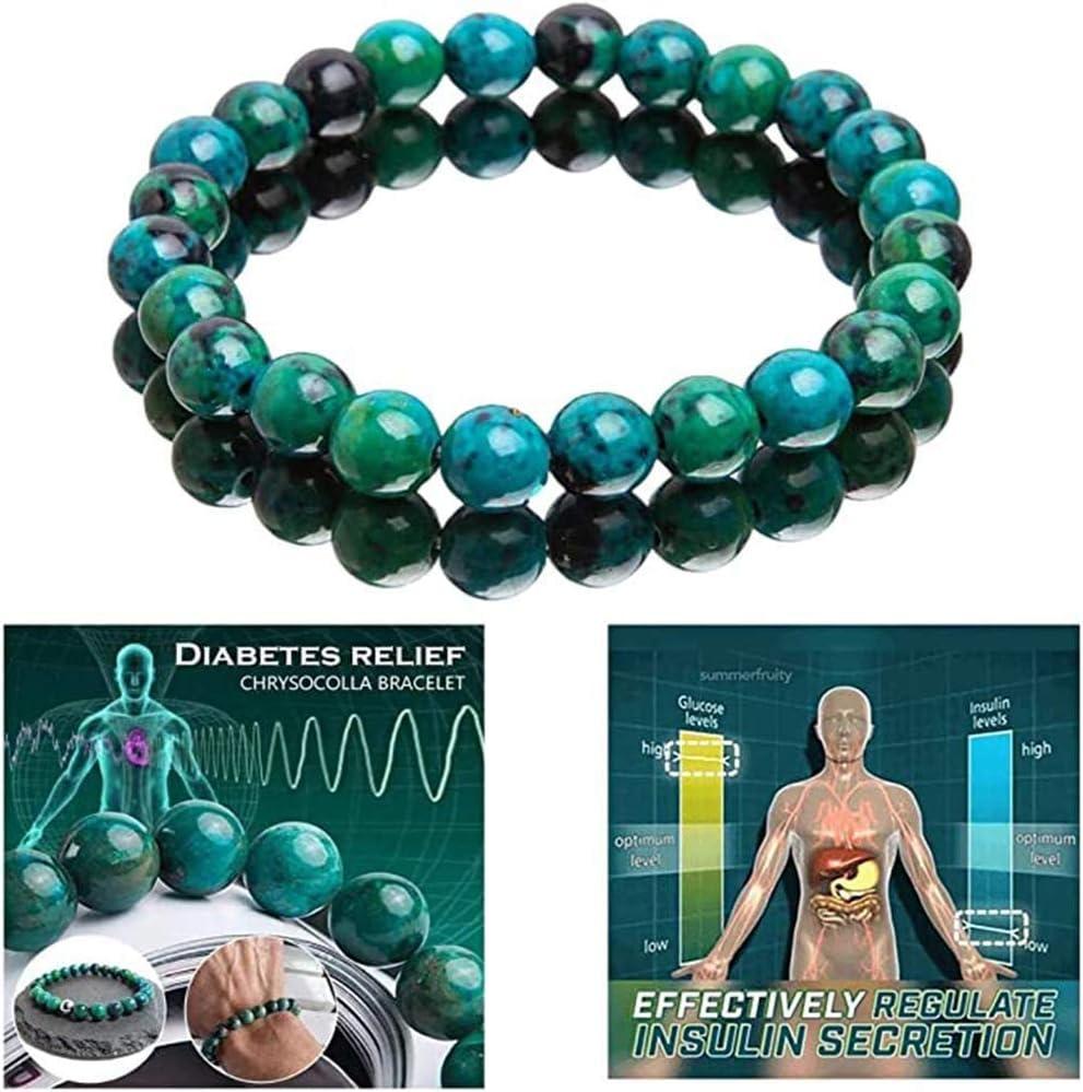 Handcrafted Diabetes Relief Chrysocolla Bracelet,Natural Phoenix Stone Elastic Bracelet,Chrysocolla Crystal Energy Beaded Bracelets,Beaded Stretch Bracelet Round Beads for Men Women