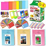 Xtech FujiFilm Instax Mini 9 Camera Film + Accessories Kit Includes: 1 Twin Pack Instant Film (20 Sheets), 3 Photo Albums, Assorted Colorful Sticker, Paper & Plastic Frames, Hanging Clips & String