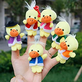 Leoie 6Pcs/Set Cute Cartoon Plush Duck Finger Puppets Storytelling Toys Props for Kids