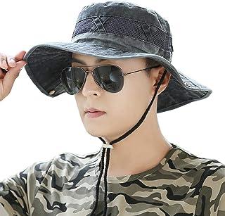 XUERUI Sombrero para El Sol Hombres Lado Ancho Visera Malla Tapa del Cubo Ligero Bonnie Cap Adecuado para Actividades Al Aire Libre (Color : Negro, Tamaño : 54-60cm)