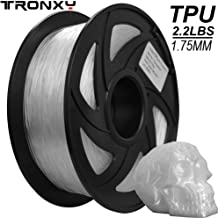 Flexible TPU 3D Printers Filament, 1.75mm,Color is Clear, Accuracy +/- 0.05mm, Net Weight 1KG(2.2LB)