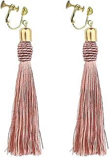 Bohemian Pink Long Tassel Silk Fringe Thread Clip on Earrings Oval Knot Prom Bar for Girls Women