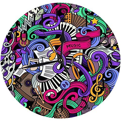 Yaoni Silencioso Wall Clock Decoración de hogar de Reloj de Redondo,sic Temático Dibujado a Mano Instrumentos Abstractos Micrófono Batería Teclado Stradivarius,para Hogar, Sala de Estar, el Aula