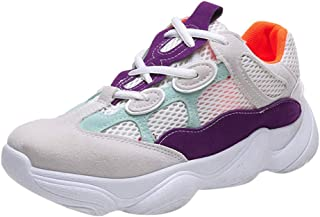 Unisex Women Men Casual Sneakers Sports Running Breathable Straps Mesh Shoes (Color : Purple, Size : UK-3.5)