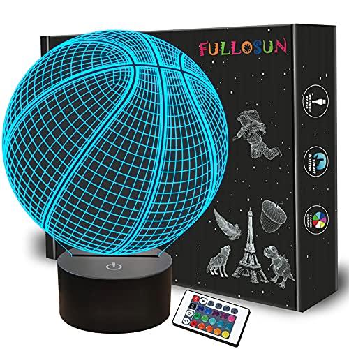 Basketball 3D Nachtlicht, leuchten Basketball Geschenke 3D Illusion Lampe mit Fernbedienung 16 Farben Ändern Sport Fan Zimmer Dekoration Geburtstagsgeschenk Junge Kinderzimmer Idee