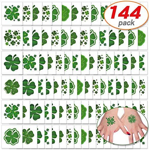 144 Pcs Shamrock Tattoos Saint Patrick's Day Tattoos St. Patrick's Day Stickers Party Supplies Decorations Irish Tattoo Sticker Clover Tattoos (144)