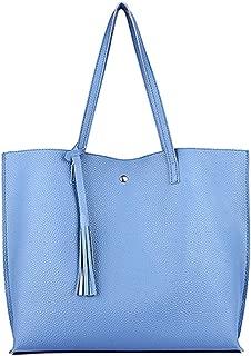 Tote Shoulder Bags - Pure Color Large Capacity Top Handle Satchels Handbags Tassel Shoulder Purse