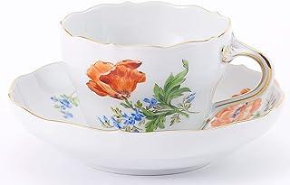 【正規輸入品】 マイセン [MEISSEN] 花柄 「ヒナゲシ」 ティー/コーヒー 兼用カップ&ソーサー 04C010/00582