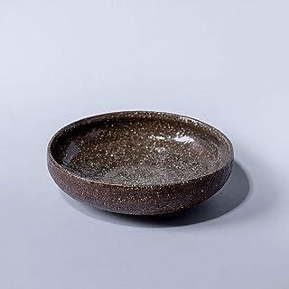 Cuenco de cerámica rústico hecho a mano decoración del hogar arcilla marrón con textura con esmalte transparente