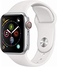 Apple Watch Series 4 (GPS + Cellular, 40mm) - Silver Aluminium Case with White Sport Band (Renewed)
