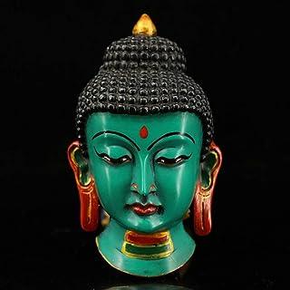 PPCP Buddhist Sakyamuni Tibetan Crafts Collection Vintage Nepalese Hand Painted Gold Paint Lacquer Sakyamuni Mask Avatar P...