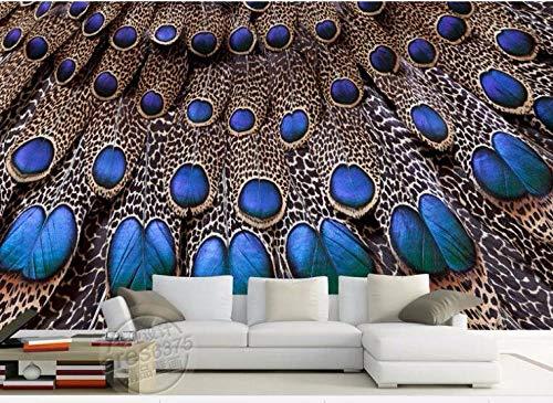 Papel Tapiz Fotográfico 3D Pluma de pavo real azul Moderna Fotomurales Decoración De Pared Sala Cuarto Oficina Salón 400 cm x280 cm