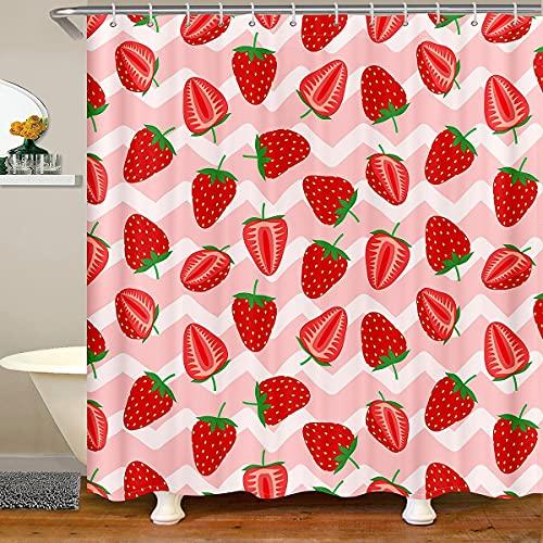 Kawaii Erdbeere Duschvorhänge Süße Erdbeere Badevorhänge für Kinder Süße Früchte Thema wasserdichte Badezimmervorhänge mit 12 Haken für Badewanne, 72