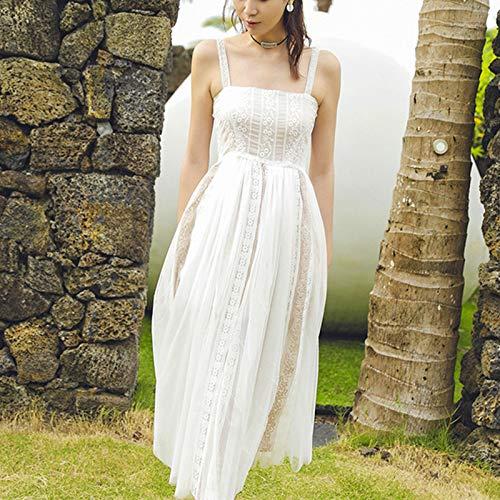 QUNLIANYI Bendkleid Tüll Lang Spitze Nähen Tüll Mesh Strap Kleid Frauen Ziemlich Weiß Häkeln...