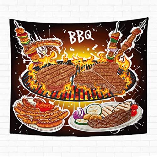 Tapiz para colgar en la pared de pollo de filetes en barbacoa caliente, variedades de barbacoa barbacoa 150 x 200 cm, 60 x 80 cm, decoración del hogar, manta de pared para dormitorio, sala de estar