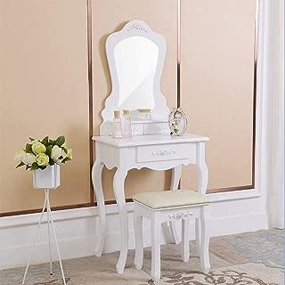 JOYBASE Vanity Set, Makeup Vanity Table with Irregular Single Mirror, 3 Drawers and Cushioned Stool, Vanity Beauty Station, Makeup Dressing Table Set (White)