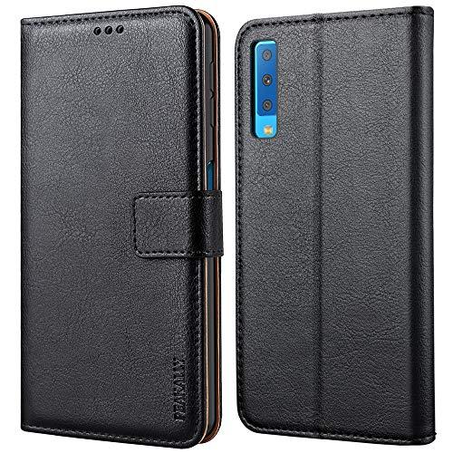 Peakally Samsung Galaxy A7 2018 Hülle, Premium Leder Tasche Flip Wallet Case [Standfunktion] [Kartenfächern] PU-Leder Schutzhülle Brieftasche Handyhülle für Samsung Galaxy A7 2018-Schwarz