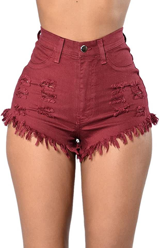 Fashion Women Summer High Waist Ripped Denim Jeans Beach Pants Hot Shorts Jeans