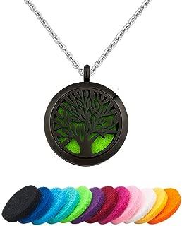 Tree Life Locket Essential Oil Diffuser Necklace Locket Black Rainbow Rose Gold Tone Silver Tone