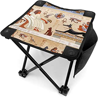 Jinitami Camping Stool Folding Ancient Egypt Egyptian Pharaohs Portable Chair Camping Hunting Fishing Travel with Carry Bag