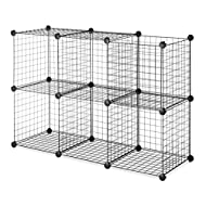Whitmor Storage Cubes - Stackable Interlocking Wire Shelves - Black (Set of 6)
