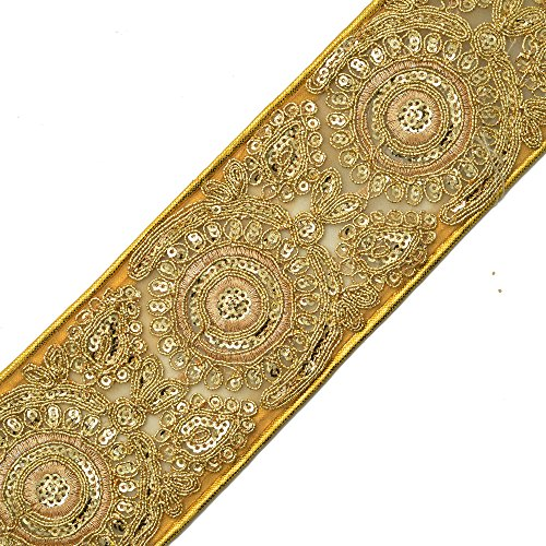 Beaded Sequin GOLD Metallic Lace Trim for Bridal, Costume or Jewelry, Crafts and Sewing, 2-3/4 Inch by 1 Yard, SMB-2042