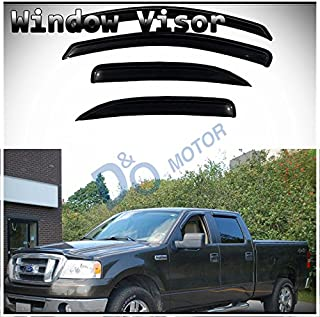 D&O MOTOR 4pcs Front+Rear Smoke Sun/Rain Guard Outside Mount Tape-On Window Visors for 04-08 Ford F-150 SuperCrew/Crew Cab with 4 Full Size Doors