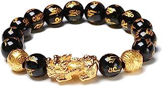 Excras - Braccialetto portafortuna Feng Shui, braccialetto della ricchezza Pi Xiu con perle in ossidiana nera naturale con...