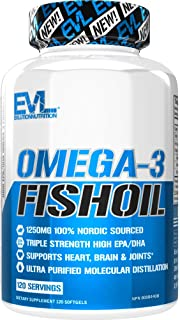 Evlution Nutrition Omega 3 Fish Oil 1250mg, HIGH EPA 450mg, DHA 300mg Triple Strength, Capsules (120 Servings)