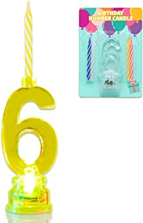 Novelty Place Multicolor Flashing Number Candle Set, Color Changing LED Birthday Cake Topper with 4 Wax Candles (Number 6)