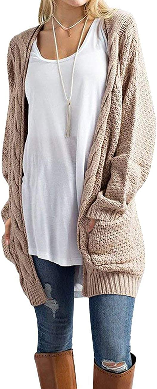 U.Vomade Women's Sweaters Boho Long Sleeve Open Front Chunky Cable Knit Cardigan