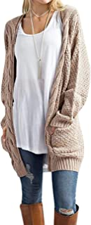 OmicGot Women's Long Sleeve Open Front Chunky Cable Knit Loose Cardigan Sweater