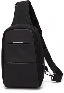 حقيبة كاجوال بحزام للكتف من بوسو مضادة للسرقة للاستخدام اليومي مقاومة للماء مع منفذ شحن يو اس بي للرجال/النساء بلون اسود