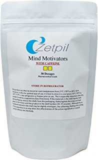 Zetpil Mind Motivator, Supports Memory, Focus, Caffeine, Macuna, L-Tyrosine, Huperzine A, MCHP, Theobromine, Vincamine, Phosphatidylcholine, B Complex, Mixed Tocopherols, and More! 30 Suppositories