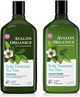Avalon Organics All Natural Tea Tree Scalp Treatment Shampoo and Conditioner With Aloe, Lavender, Chamomile and Babassu Oi...