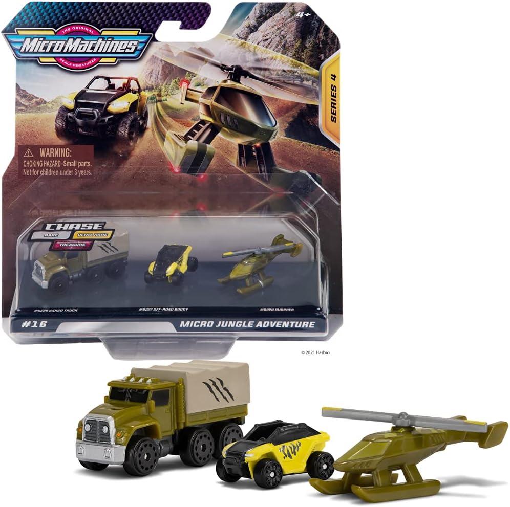 MicroMachines Starter Pack, Jungle Adventure - Contiene 3 vehículos, camión, Buggy y helicóptero - Posibilidad de Algo Raro - Colección de Coches de Juguete Micromachines