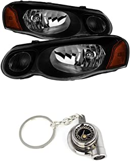 Chrysler Sebring Convertible & Sedan (Does not fit 2 door) OEM Style Headlights Black Housing With Clear Lens+ Free Gift Key Chain Spinning Turbo Bearing