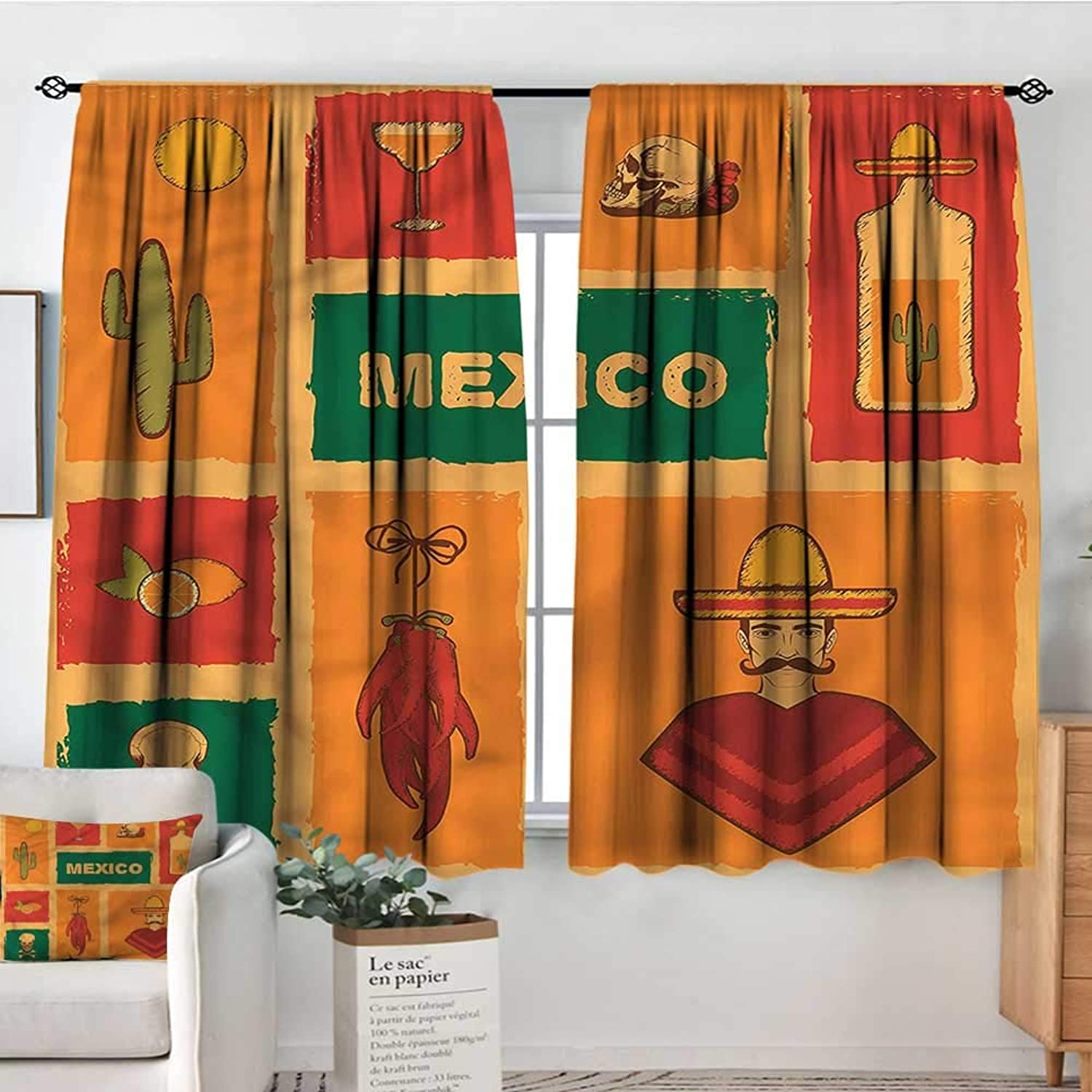 Sanring Mexican,Modern Kids Curtain Cactus Tequila Lemon Pepper 42 X63  Decorative Curtains for Iving Room