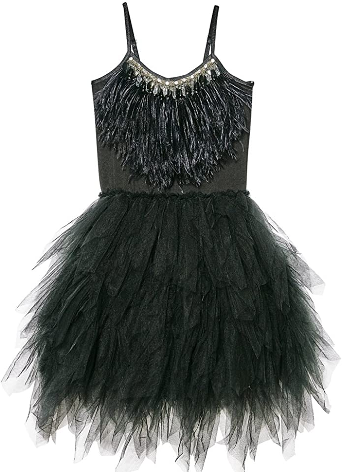 Kids Girls Spaghetti Strap Swan Princess Feather Fringes Princess Tiered Tutu Tulle Dress for 18 Months - 8 Years