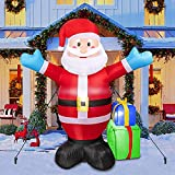Christmas Inflatable Santa Claus 6 FT Carrying Gift Decoration, Blow Up Lighted Giant Santa Xmas Decoration for Outdoor Yard Garden (Red Santa)