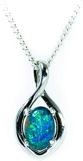 Genuine Opal Jewelry- Real Australian Triplets Opal Necklace Pendant in Sterling Silver Girl`s Jewelry