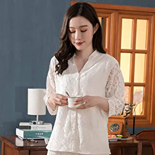 LIXIAOLAN Pijamas De Mujer 2020 Nueva Primavera Y Verano Simulación De Seda Pijamas De Seda Ropa De Encaje De Ropa De Ropa De Mujer,Blanco,XL