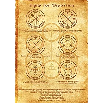 Amazon Com Sigils For Protection Scroll Geniuses Kabbalah Poster Wicca Pagan Print Art Witch Magick Runes Home Kitchen