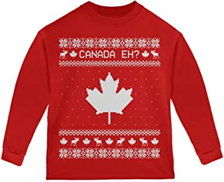 Old Glory Canadian Canada Eh Ugly Christmas Sweater Toddler Long Sleeve T Shirt