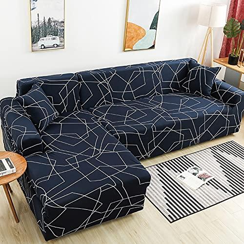 WXQY Funda de sofá de Esquina para Sala de Estar, Funda de sofá elástica, Toalla de sofá elástica, Funda de sillón Chaise Longue en Forma de L, A10, 4 plazas