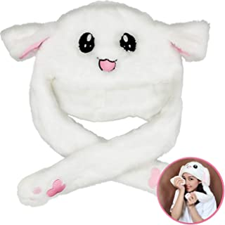TIHOOD Cute Plush Bunny Hat Rabbit Cap - Ears Popping Up When Pressing The Paws White
