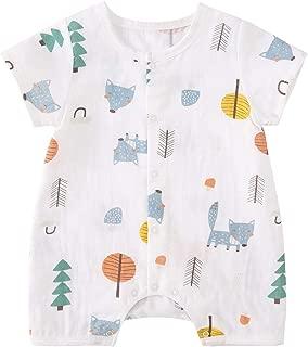pureborn Newborn Unisex Baby Cartoon Cotton Short Sleeve Summer Romper