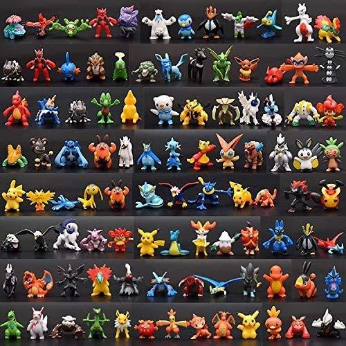 144 Pièces Pikachu Poupées Pokémon Pikachu Gâteau Topper Mini Figurine Jouets et Gâteau de Douche Fête d'anniversaire Pikachu Figure Jouets pour Enfants Animaux Jouets Ensemble 2-3cm