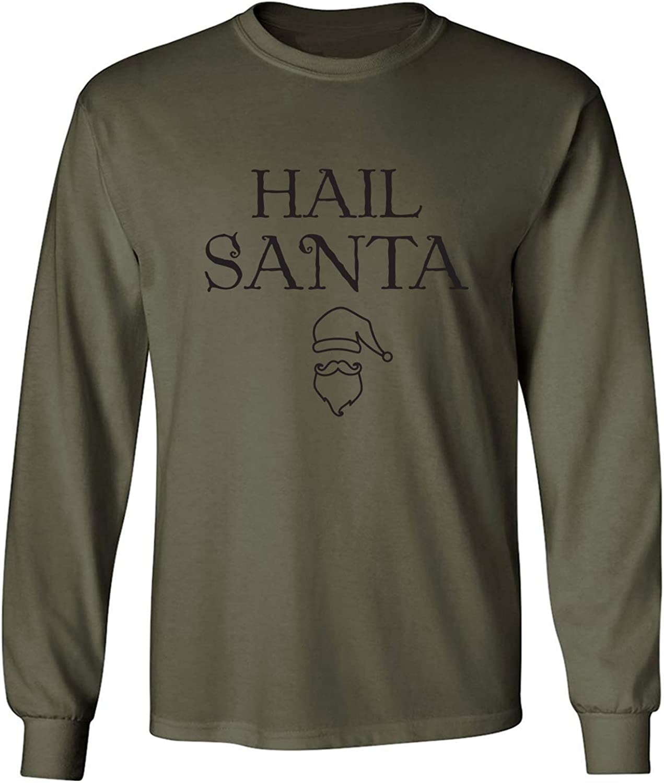 Hail Santa Adult Long Sleeve T in Miltary Green - XXXXX-Large