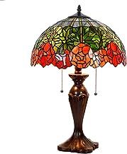 16 inch 2 lichten tiffany stijl tafellamp Rode roos ontwerp woonkamer nachtkastje verlichting decoratie art bureaulamp; Go...